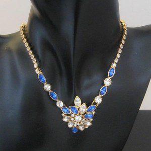 MONET Necklace blue sapphire color navettes & rhinestones